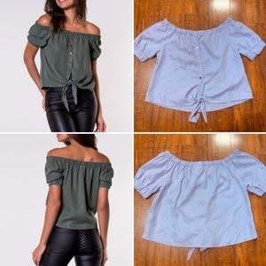 Urban Outfitters Noisy May Off Shoulder Tie Shirt
